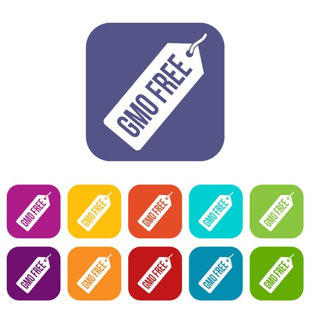 gmo: GMO free price tag icons set vector illustration in flat style In colors red, blue, green and other
