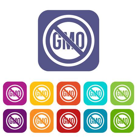 genetic modification: Stop GMO icons set vector illustration in flat style In colors red, blue, green and other