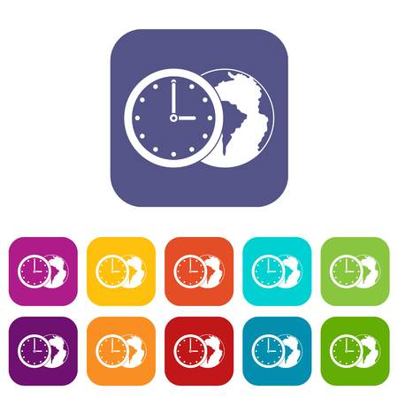 World planet with watch icons set vector illustration in flat style In colors red, blue, green and other