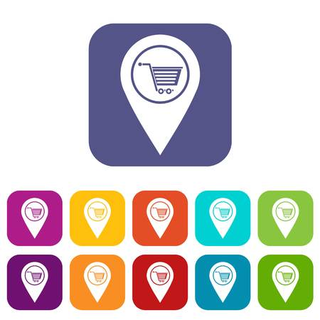 Geo tag with shopping cart symbol icons set vector illustration in flat style In colors red, blue, green and other