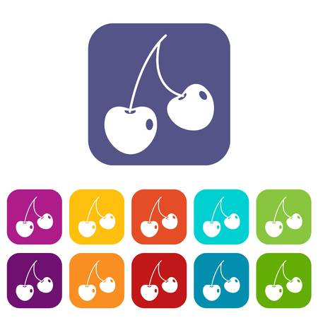 glace: Two cherry berries icons set vector illustration in flat style In colors red, blue, green and other