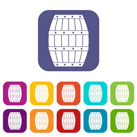 viticulture: Barrel icons set vector illustration in flat style In colors red, blue, green and other Illustration