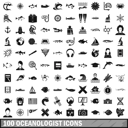 gps device: 100 oceanologist icons set in simple style for any design vector illustration