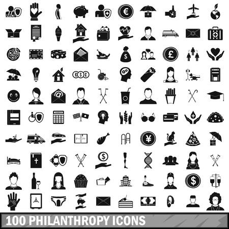 100 icônes de la philanthropie dans un style simple pour toute illustration de vecteur de conception Banque d'images - 81510614