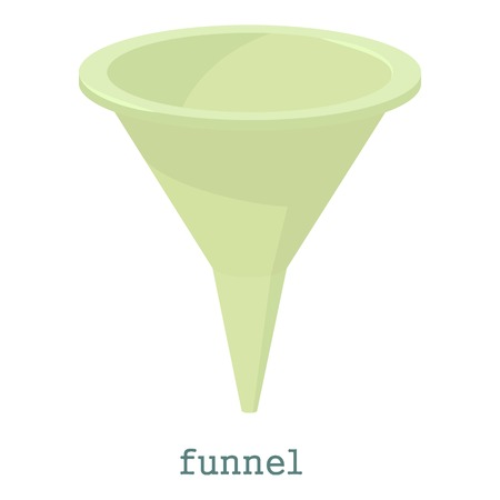 Funnel icon. Cartoon illustration of funnel vector icon for web isolated on white background