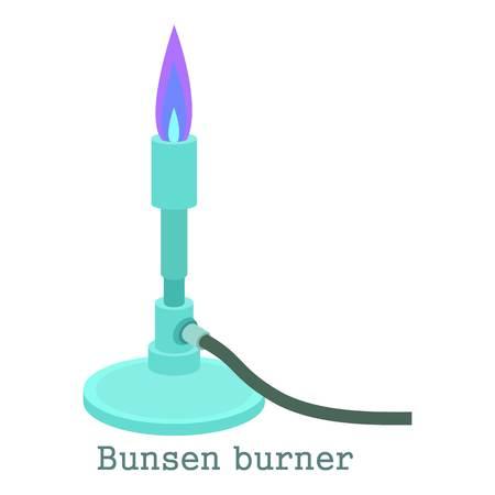 ブンゼン バーナーのアイコン。Web は、白い背景で隔離のブンゼン バーナー ベクトル アイコンの漫画イラスト