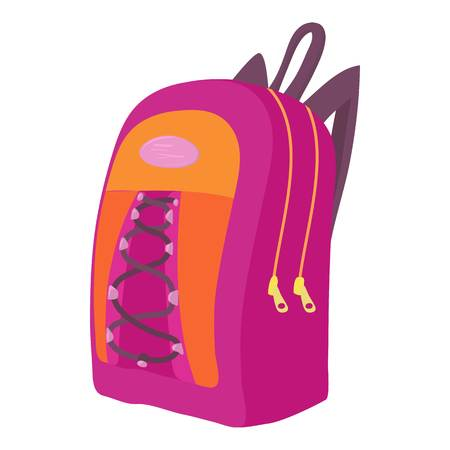 School backpack icon. Cartoon illustration of school backpack vector icon for web isolated on white background