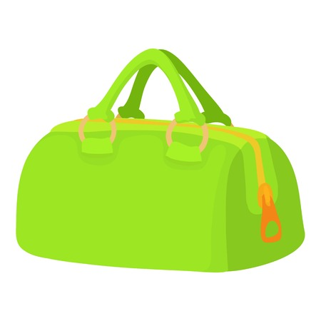Green sports bag icon. Cartoon illustration of green sports bag vector icon for web isolated on white background
