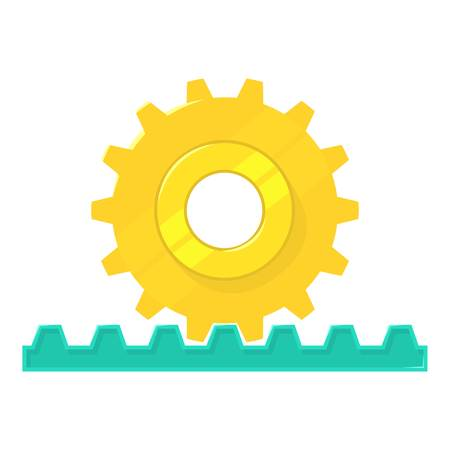 Rack pinion icon. Cartoon illustration of rack pinion vector icon for web isolated on white background