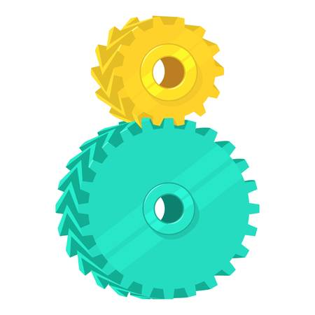 adhesion: Two Cogs icon. Cartoon illustration of two Cogs vector icon for web isolated on white background
