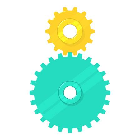 Cogged gears icon, cartoon style