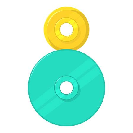 Two round gears icon, cartoon style