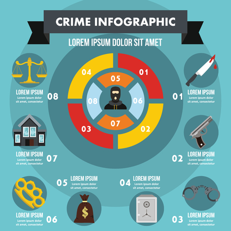 justice scale: Crime infographic banner concept. Flat illustration of crime infographic vector poster concept for web
