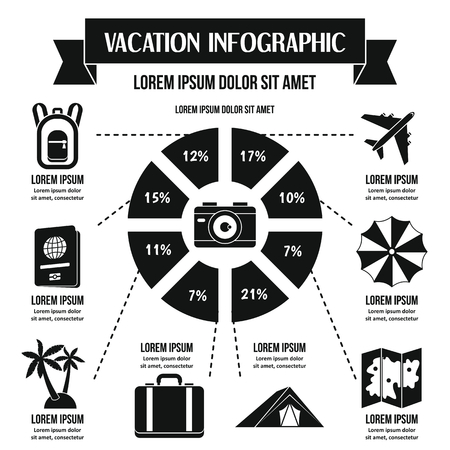 diagrama de arbol: Vacation infographic banner concept. Simple illustration of vacation infographic vector poster concept for web