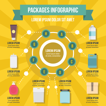 Packages infographic banner concept. Flat illustration of packages infographic vector poster concept for web