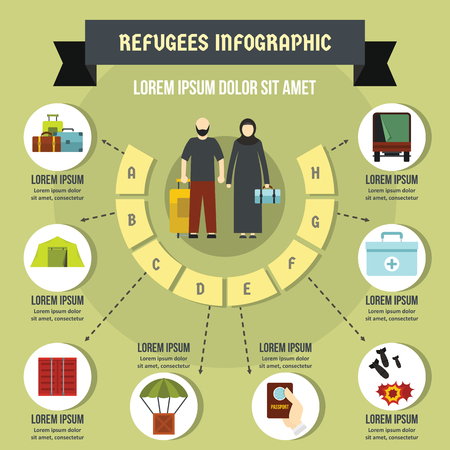 Refugees infographic concept, flat style Illustration