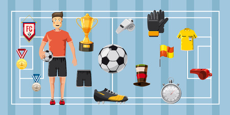 tactics: Soccer champion banner horizontal, cartoon style
