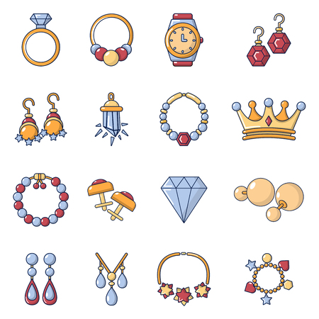 Jewelry shop icons set, cartoon style Illustration