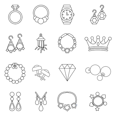 Jewelry shop icons set, outline style