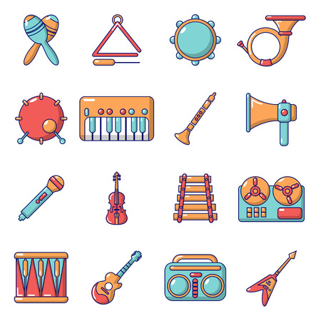 Musical instruments icons set, cartoon style Illustration