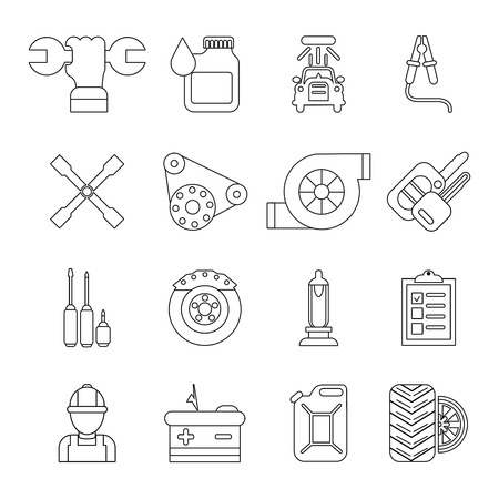 Auto repair icons set, outline style