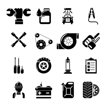 Auto repair icons set, simple style