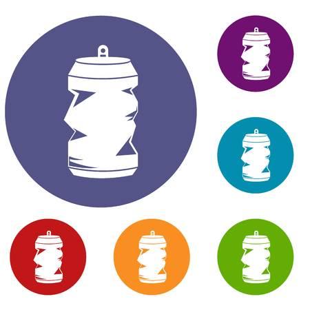 dispose: Crumpled aluminum cans icons set