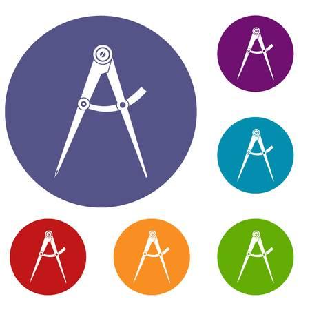 Compass tool icons set Illustration