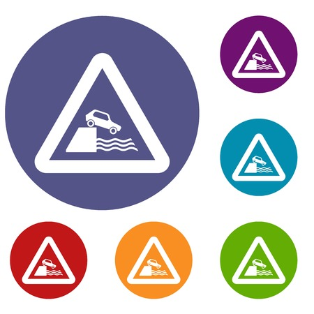 Riverbank traffic sign icons set 向量圖像