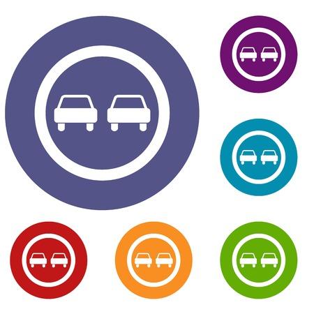 No overtaking road traffic sign icons set Illustration