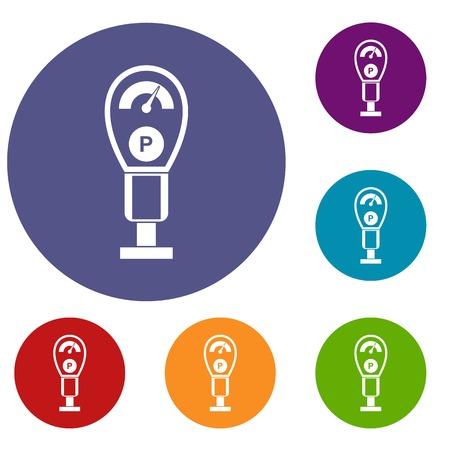 Parking meters icons set Illustration