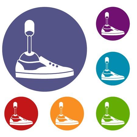 Prosthetic leg icons set