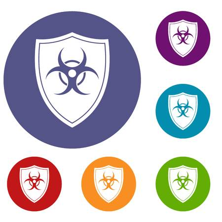Shield with a biohazard sign icons set Stock Vector - 81587045