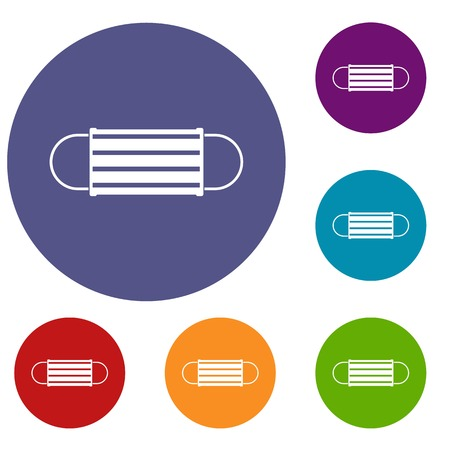 Disposable face mask icons set Illustration