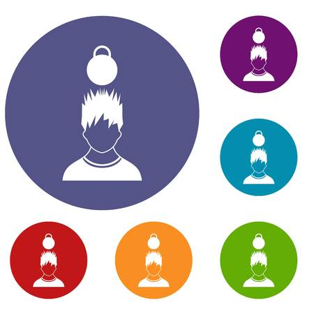 Man with the weight over head icons set