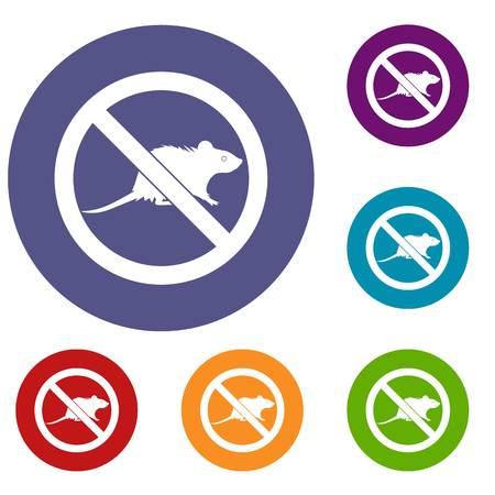 No rats sign icons set