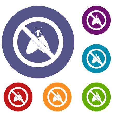 itch: No moth sign icons set Illustration