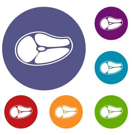 Steak icons set Illustration