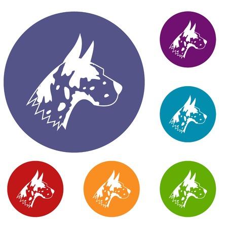 great dane: Great dane dog icons set