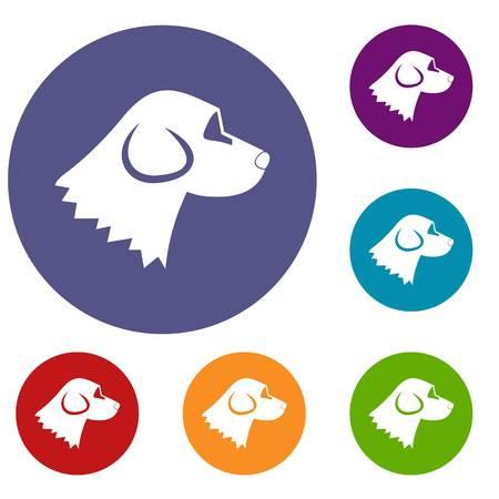 Beagle dog icons set Illustration