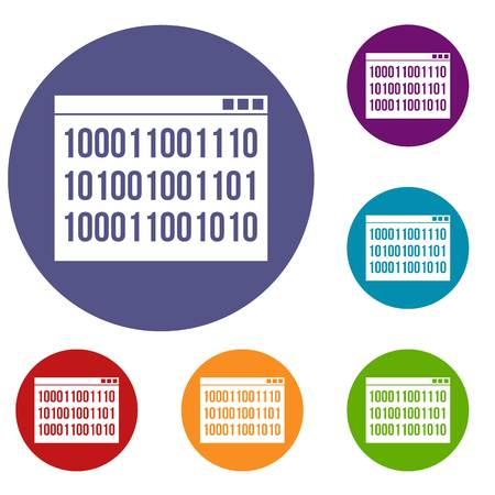 Binary code icons set Illustration