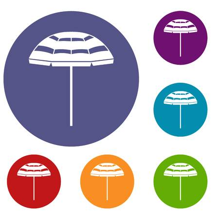 Beach umbrella icons set