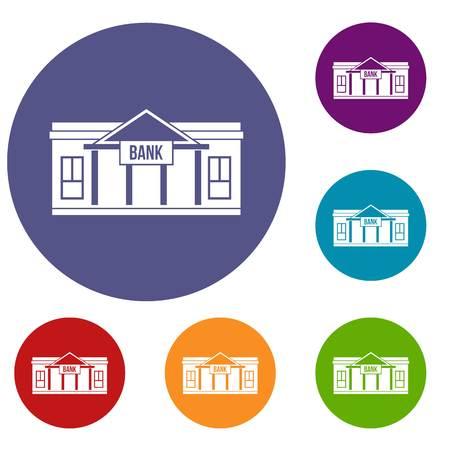 roman column: Bank building icons set
