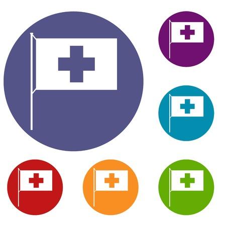 europe closeup: Switzerland flag icons set