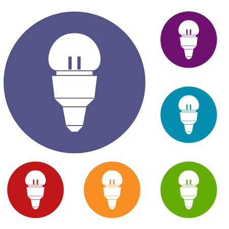 effectiveness: Reflector bulb icons set Illustration