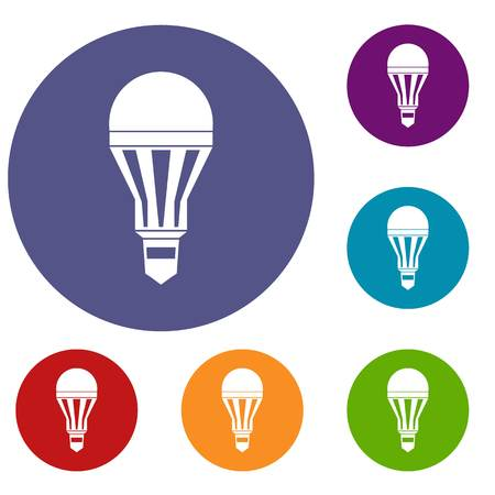 led: Led bulb icons set Illustration