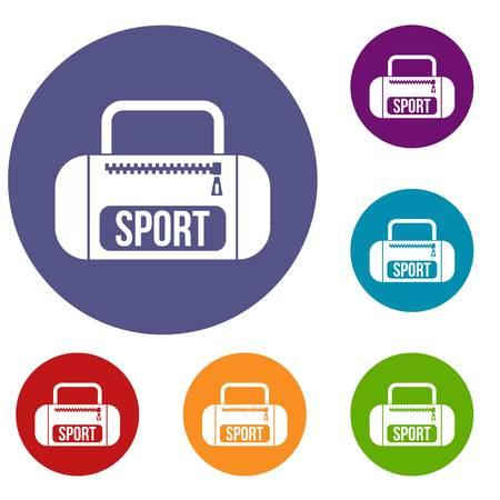 duffel: Sports bag icons set