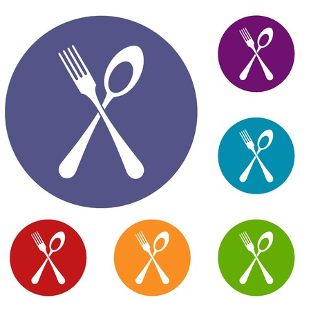Spoon and fork icons set Illustration