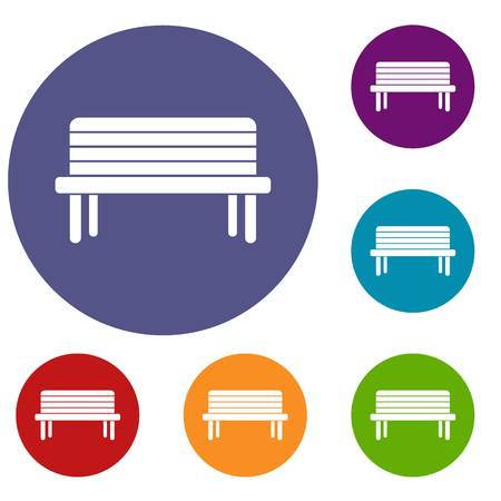 Street bench icons set in flat circle reb, blue and green color for web