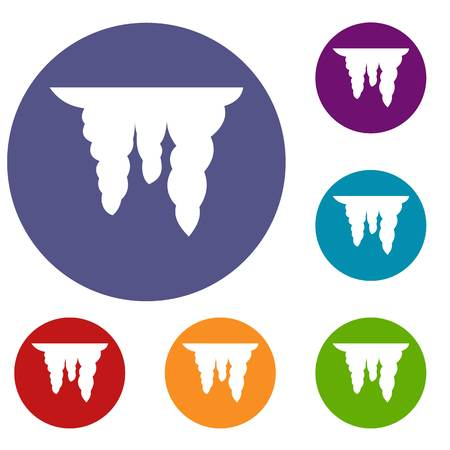Icicles icons set in flat circle reb, blue and green color for web